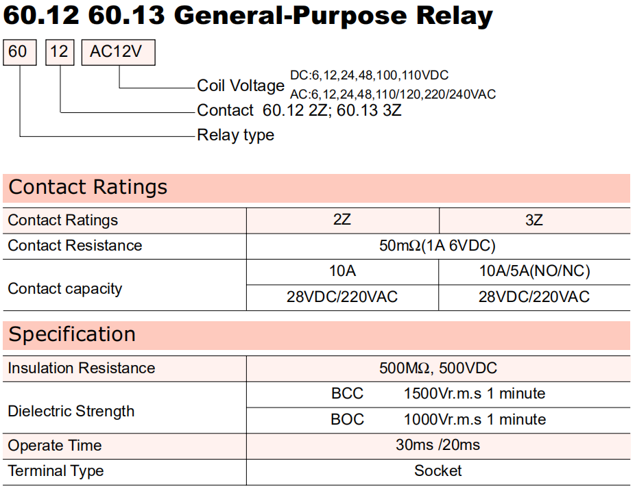 General Purpose Relay-60.13